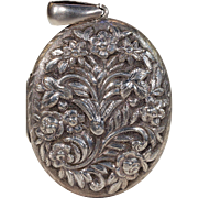 Antique Silver Victorian Large Locket c. 1880