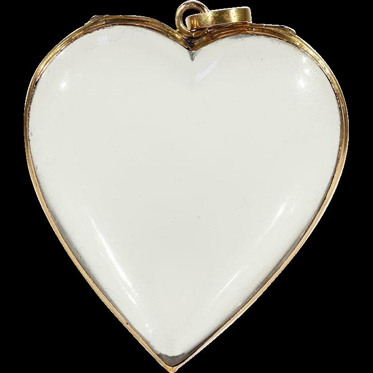 Antique Victorian Heart Shaped Cut Rock Crystal Frame Locket Pendant ...