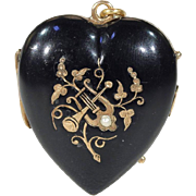 Victorian Black Enamel Gold Locket Pearl Trumpet Lyre