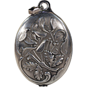 Antique French Silver Slide Locket Pendant Oak Mirror Mistletoe