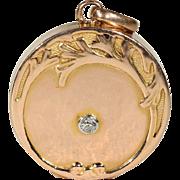 Antique Art Nouveau Diamond Locket Pendant in 18k Gold