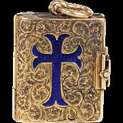 Victorian Gold Enamel Cross Locket Engraved