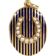 Antique Victorian Mourning Locket, in 15k Gold with Black Enamel and Pearl Horseshoe