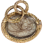 Antique Georgian Crystal Snake Frame Locket with Snake Split Ring
