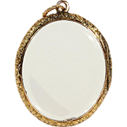 Antique Gold Frame Crystal Locket in 9k Gold