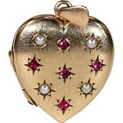 Antique Edwardian Gold Pearl and Ruby Heart Locket