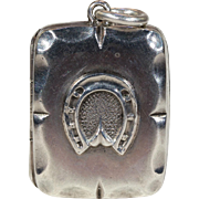 Antique Silver Horseshoe Locket Pendant