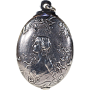 Antique Art Nouveau French Silver Slide Locket Pendant
