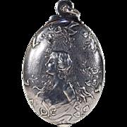 Antique Art Nouveau French Silver Slide Locket Pendant