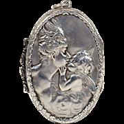 Antique Art Nouveau Angel and Cherub Silver Locket