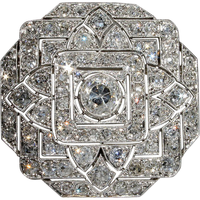 Spectacular Platinum Art Deco 7+ Carat Diamond Pin & Pendant, *Video* - Clearance Sale!!