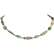 Arts and Crafts Turquoise Necklace in Silver Gilt