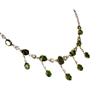 Antique Edwardian Tourmaline and Pearl Necklace in Sterling Silver