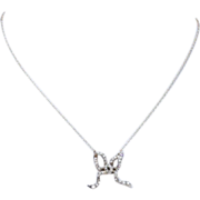 Antique Rose Cut Diamond Bow Necklace, Gold and Silver