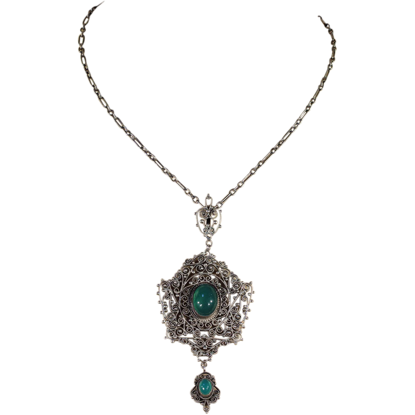 antique silver and chrysoberyl victorian necklace