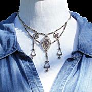 Antique European Silver and Purple Plique-a-jour Necklace Choker Length