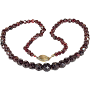 "Antique Victorian Faceted Garnet Bead Necklace with Silver Gilt Clasp, 19"" Long"