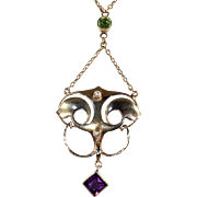 Antique Murrle, Bennett & Co Arts & Crafts Necklace with Pearl, Amethyst and Peridot in 9k Gold