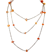 Antique Victorian Carnelian Silver Long Guard Chain Necklace