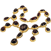 Austro-Hungarian Carbuncle Garnet Necklace Silver Gilt