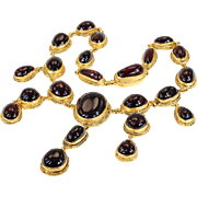 Antique Austro-Hungarian Carbuncle Garnet Necklace in Silver Gilt, Gorgeous!!