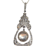 Vintage Art Deco Moonstone and Diamond Necklace in Platinum and 18k Gold