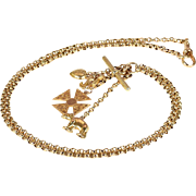 Antique Victorian Chain with Charms Necklace in 9k Gold, 28 inches