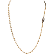 Edwardian Graduated Pearl Strand Necklace with Diamond and Sapphire Clasp, Antique c. 1905