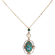 Antique Edwardian Arts & Crafts Pearl and Turquoise Gold Necklace
