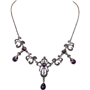 Vintage Purple Paste and Marcasite Drop Necklace
