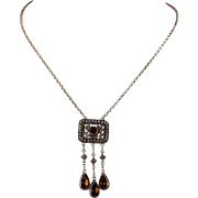 Antique Arts & Crafts Citrine Necklace Silver Gilt