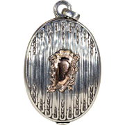 Fabulous French Silver and Gold Slide Locket with Mirror, c. 1890