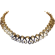 Antique French Import Gold and Blue Enamel Collar Necklace in heavy 18k Gold, Art Nouveau