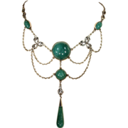 Vintage Green Chalcedony and Silver Bows Necklace