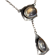 Antique Silver and Moonstone Arts & Crafts Necklace