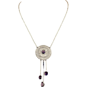 Light and Airy Antique Edwardian Amethyst and Silver Necklace