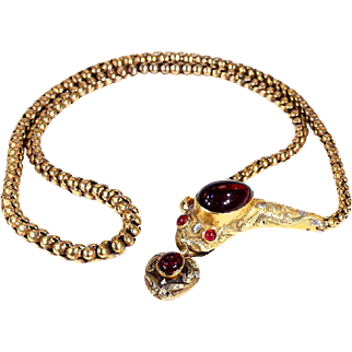 Stunning Garnet Snake Necklace with Heart Drop in 15k Gold, circa 1870