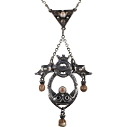 Antique David Andersen Necklace in Silver with Brown Agate, Early Norwegian Design