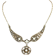 Antique Marius Hammer Necklace with White Enamel in Silver Gilt, c. 1900