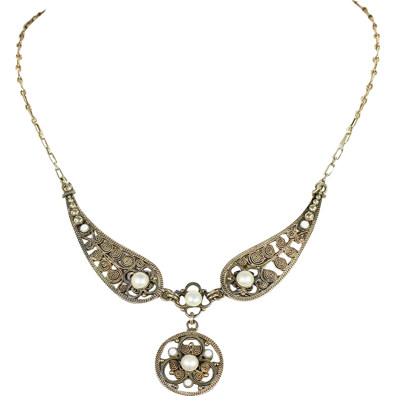 Antique Marius Hammer Necklace With White Enamel In Silver