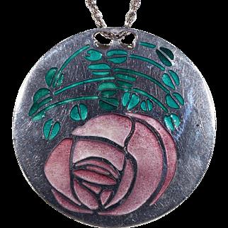 Vintage Norman Grant MacIntosh Rose Pendant Necklace