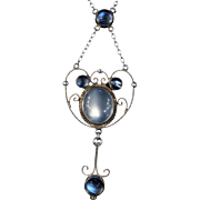 Antique Arts & Crafts English Moonstone Necklace
