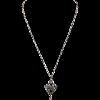 Antique Arts & Crafts Silver Hammered Necklace