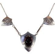 Antique Silver and Cabochon Garnet Necklace in Silver
