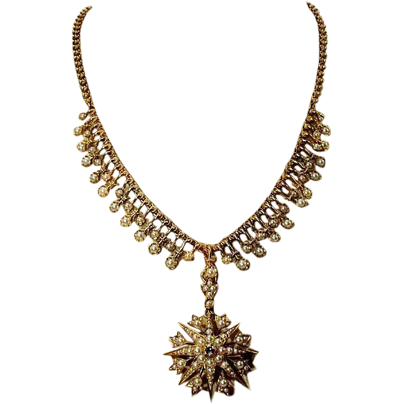 Antique Victorian Important Pearl and Diamond Necklace, 18k Gold c. 1870