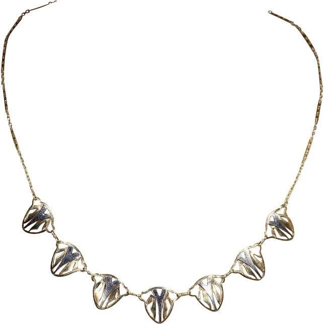 Vintage Art Deco Necklace, 18k White and Yellow Gold, 17.5""