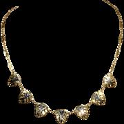 Vintage Art Deco Two Tone 18k Gold Necklace
