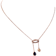 Fabulous Sapphire and Diamond Double Drop, Négligée Necklace in Gold and Platinum