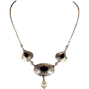 Antique Silver and Amethyst Arts & Crafts Necklace with Drop Pearl