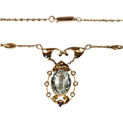 Antique Aquamarine and Pearl Necklace by Murrle, Bennett and Company